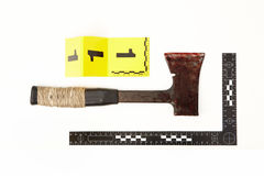 Forensic evidence of axe with number and scale. Metal axe found as evidence of crime royalty free stock image