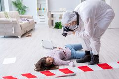 Forensic investigator at the crime scene investigating woman mur. Forensic investigator at the crime scene investigating women murder stock photo
