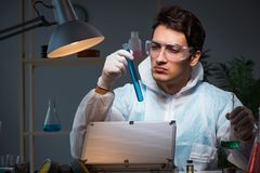 The forensic investigator working in lab looking for evidence. Forensic investigator working in lab looking for evidence royalty free stock photos