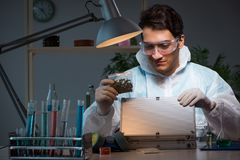 The forensic investigator working in lab looking for evidence. Forensic investigator working in lab looking for evidence stock images