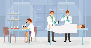 Forensic medical experts vector. The team of forensic experts working in the morgue. Vector illustration stock illustration