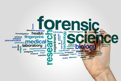 Forensic science word cloud Royalty Free Stock Photos