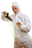 Forensic scientist collecting Royalty Free Stock Photography