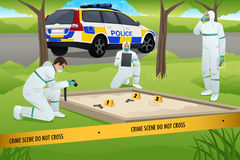 Forensic Working on a Crime Scene. A vector illustration of forensics working on a crime scene Stock Images