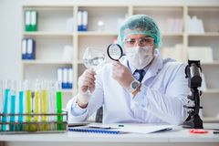 The forensics investigator working in lab on crime evidence. Forensics investigator working in lab on crime evidence stock photos