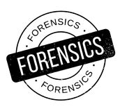 Forensics rubber stamp. Grunge design with dust scratches. Effects can be easily removed for a clean, crisp look. Color is easily changed Stock Image