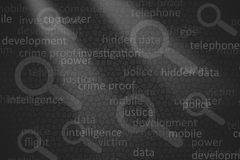 Forensics Terms. Background of Forensics Terms, words connected with the investigation process Royalty Free Stock Image