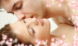 Foreplay with flowers Royalty Free Stock Image
