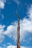 Foresail, Jib, and Wooden Mast of a sailing yacht Royalty Free Stock Photo