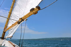 Foresail and Wooden Mast of Schooner Sailboat Royalty Free Stock Image