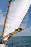 Foresail and Wooden Mast of Schooner Sailboat Royalty Free Stock Photo