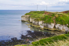 Foreshore off Flamborough Head. Cliffs off Flamborough Head with grassy foreground and people in distance below Stock Photo