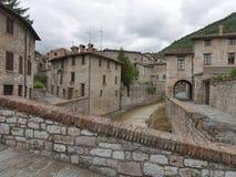 Gubbio - abundance bridges. Foreshortening of abundance bridges in the village of Gubbio, Umbria, Italy stock images