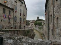 Gubbio - abundance bridges. Foreshortening of abundance bridges in the village of Gubbio, Umbria, Italy stock photography