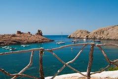 foreshortening da baía de Morell da ilha de Menorca foto de stock royalty free