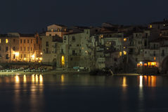 Foreshortening night cefalù palermo sicily italy europe Royalty Free Stock Photography