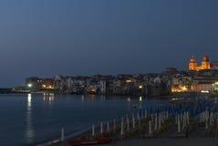 Foreshortening night cefalù palermo sicily italy europe Stock Photo