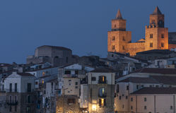 Foreshortening night cefalù palermo sicily italy europe Stock Images