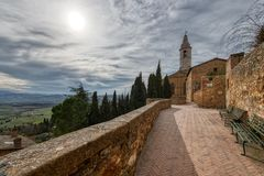 Free Foreshortening Of The Medieval City Of Pienza In Tuscany Italy Royalty Free Stock Photography - 141675997