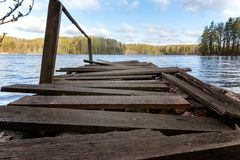 Forest湖或河在夏日和老土气木船坞或者码头 库存图片