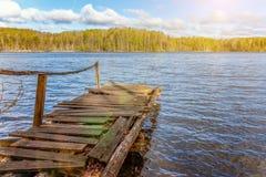 Forest湖或河在夏日和老土气木船坞或者码头 免版税库存图片