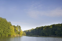 Forest. The big wood lake with clouds in the autumn Royalty Free Stock Image