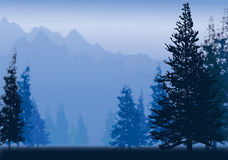 Forest. Towering cluster mountain, the weather of the heavy mist, orchid tone vector illustration