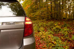 In the forest. Car parking in the autumn forest Royalty Free Stock Photography