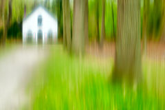 Forest Abstract. Impressionist photo abstract blur of a Dutch house in the forest Royalty Free Stock Photo