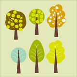 Forest abstract trees. Abstract trees of different seasons in a row , artistic illustration Stock Images