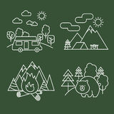 Forest activity linear icons. Vector thin line wildlife and park landscape with bear. Outdoor travel, mountain adventure and camping illustration Royalty Free Stock Photo