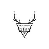 Forest Adventure mit Geweih-Ausweis Logo Design Template lizenzfreie abbildung
