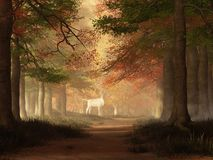 The White Elk. In a forest alive with the colors of fall, the sun breaks though the autumn canopy illuminating a clearing up ahead on the path. In that clearing royalty free illustration