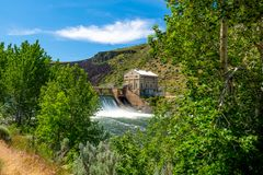 Forest along the Boise river with Diversion Dam seen through. Natural trees help frame the Diversion Dam on the Boise River in Idaho stock photos