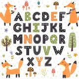 Forest alphabet with cute foxes. Hand drawn letters from A to Z. Vector illustration stock illustration