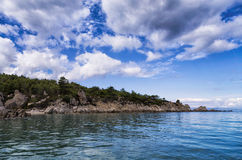 Forest and amazing sea, in Sithonia, Chalkidiki, Greece Royalty Free Stock Image