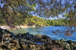 Forest and amazing sea, in Sithonia, Greece Royalty Free Stock Photo