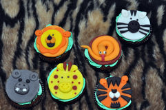 Forest animal cupcakes Stock Photography