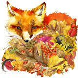 Forest animal fox Autumn nature colorful leaves background. Fruit, berries, mushrooms, yellow leaves, rose hips on black background. watercolor stock illustration