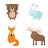 Forest animal set. Bear, hare, fox, moose. Kids education cards. White background. Isolated. Flat design. Royalty Free Stock Photo