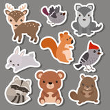 Forest animal stickers. Royalty Free Stock Images