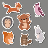 Forest animal stickers. Stock Photos