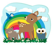 Forest Animals. Vector Illustration of cute bear fawn owl and a bird against a colorful rainbow background royalty free illustration