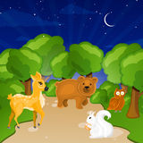 Forest Animals. Illustration of Forest Animals in a beautiful landscape Stock Image