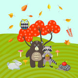 Forest animals on autumn meadow vector illustration. Royalty Free Stock Photos