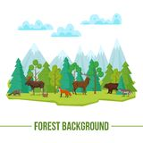 Forest Animals Background Illustration Libre de Droits