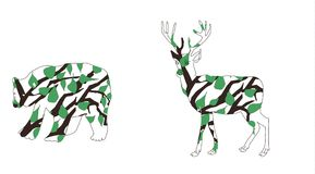 Forest animals - a bear and a deer. Outline pencil. animals from the branches of trees and leaves. Animal outlines against the background of trees. Vector royalty free illustration