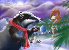 Forest animals celebrating Christmas. Lovely digital drawing depicting a badger, foxes and a squirrel celebrating Christmas together in the snowy forest Royalty Free Stock Images