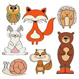 Forest animals collection isolated on white background vector illustration