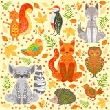 Forest Animals Covered In Crative ornemente l'illustration Photo libre de droits
